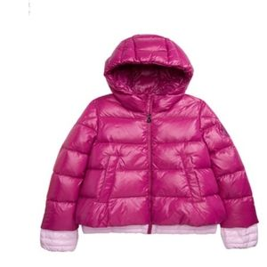 Moncler Claret hooded down jacket in fusch…